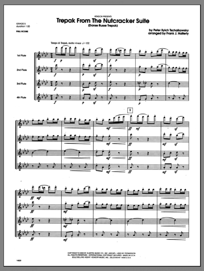 Trepak From The Nutcracker Suite (Danse Russe Trepak) (COMPLETE) sheet music for flute quartet by Halferty, Tschaikowsky and Pyotr Ilyich Tchaikovsky, classical score, intermediate. Score Image Preview.