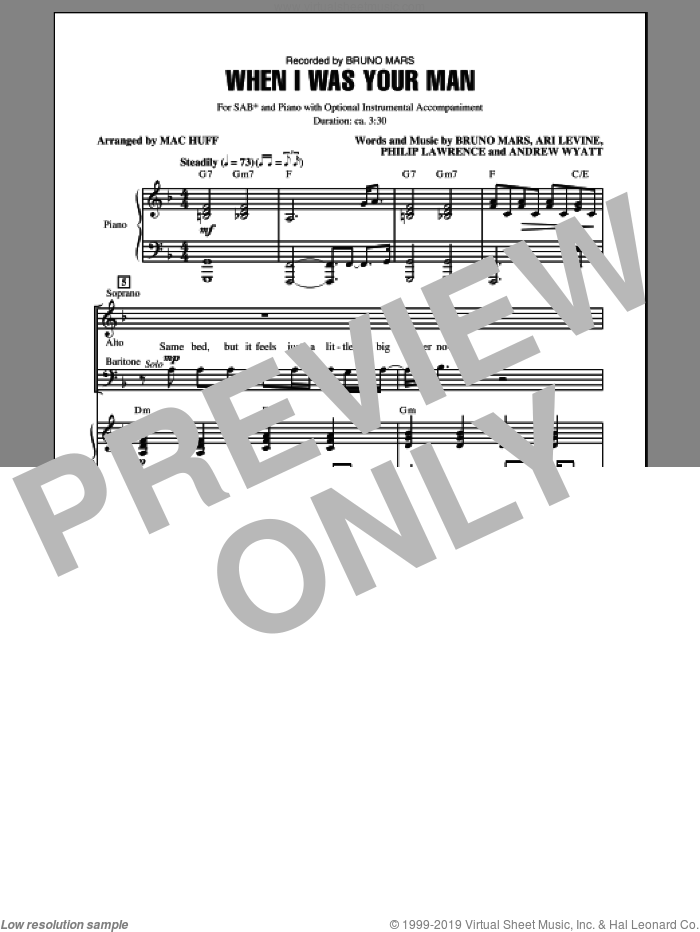 When I Was Your Man sheet music for choir (SAB) by Mac Huff and Bruno Mars, intermediate choir (SAB). Score Image Preview.
