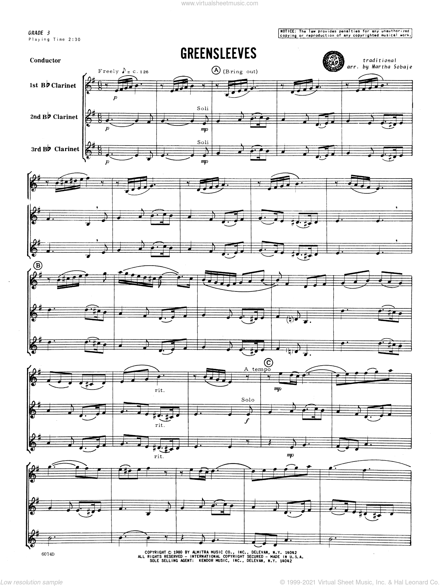 Greensleeves sheet music for clarinet trio (full score)