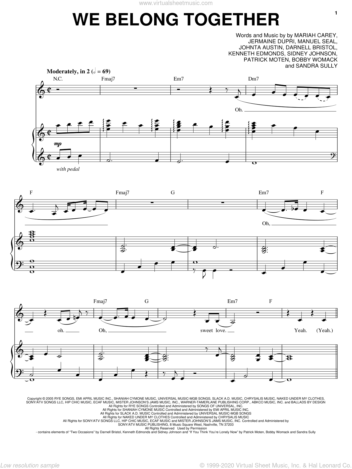 We Belong Together sheet music for voice and piano by Mariah Carey, intermediate skill level