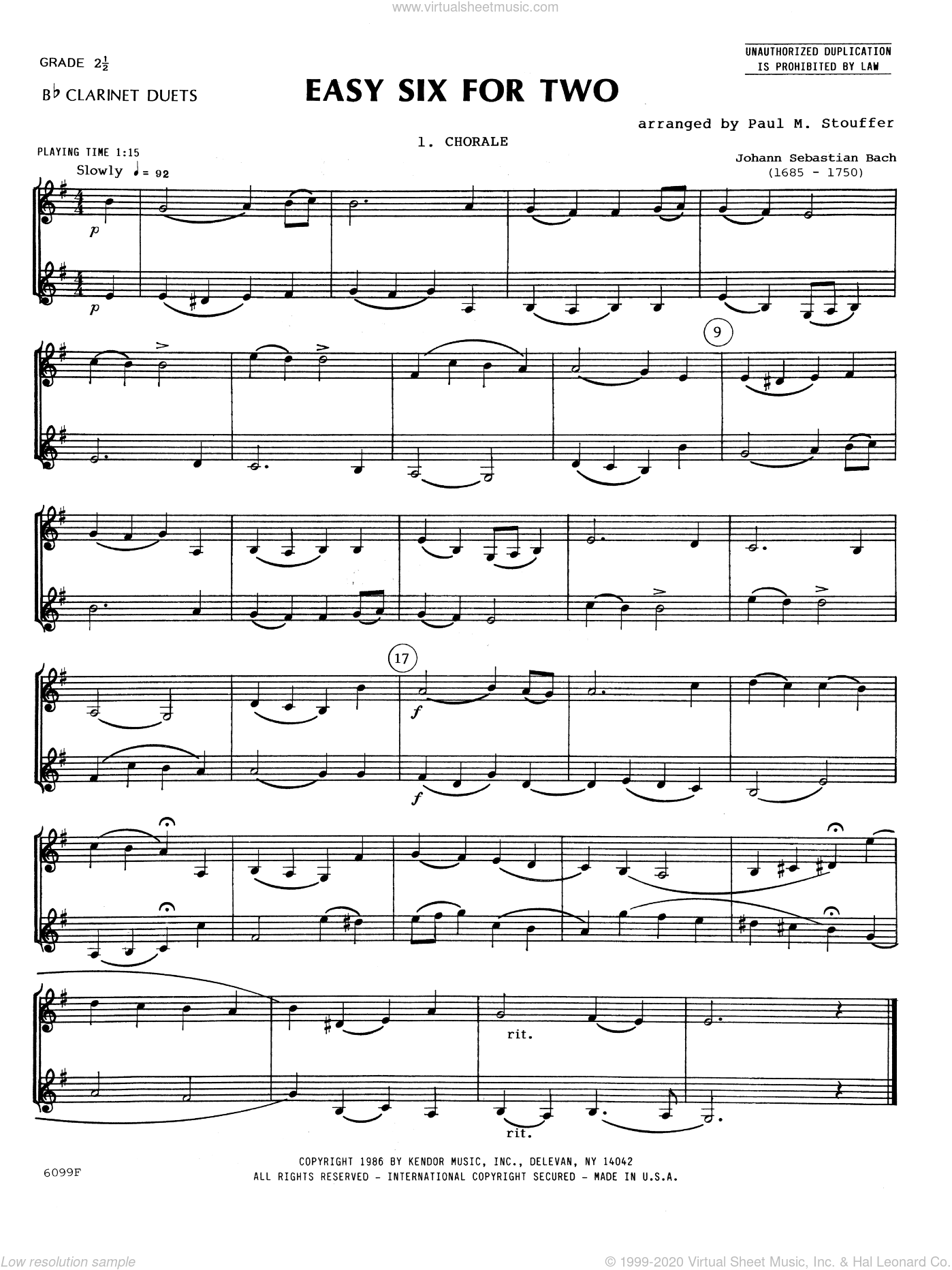 Easy Six For Two sheet music for two clarinets by Stouffer. Score Image Preview.