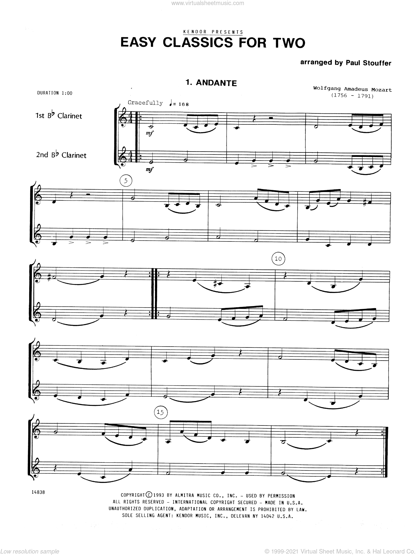 Easy Classics For Two sheet music for two clarinets by Stouffer. Score Image Preview.