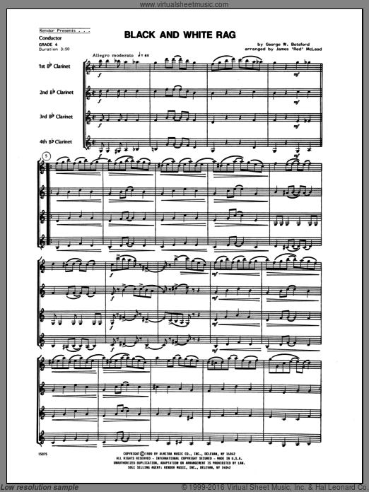 Black And White Rag (COMPLETE) sheet music for clarinet quartet by Botsford