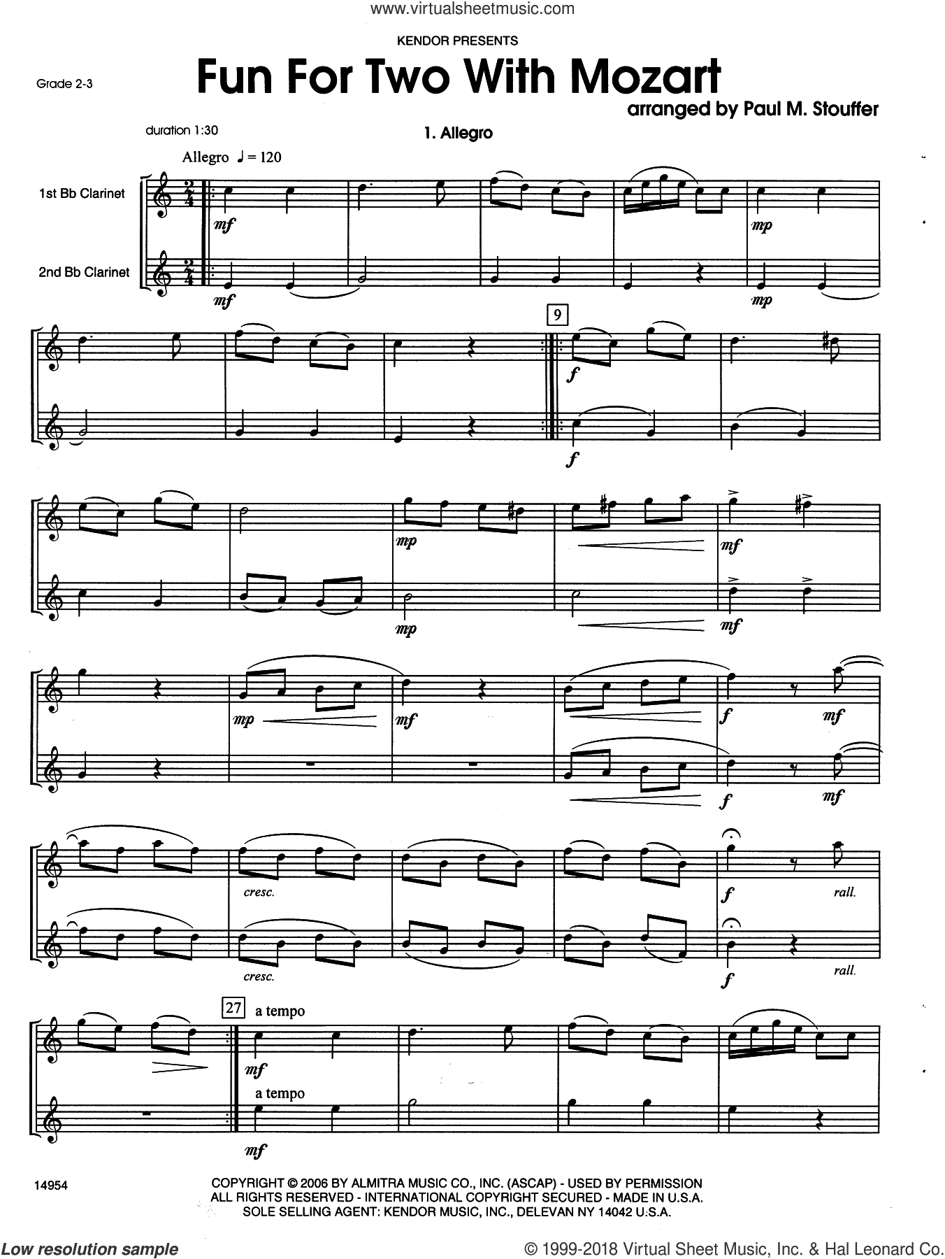 Fun For Two With Mozart sheet music for two clarinets by Wolfgang Amadeus Mozart and Stouffer, classical score, intermediate duet. Score Image Preview.