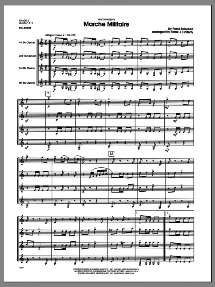 March Militaire (COMPLETE) sheet music for clarinet quartet by Franz Schubert and Halferty, classical score, intermediate. Score Image Preview.