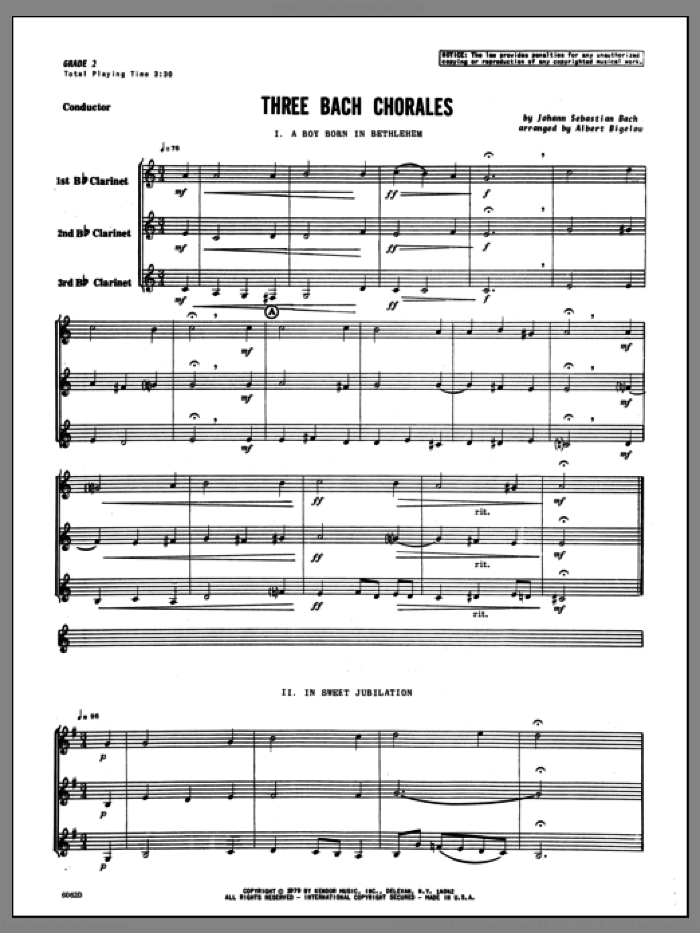 Three Bach Chorales (COMPLETE) sheet music for clarinet trio by Johann Sebastian Bach and Bigelow, classical score, intermediate clarinet trio. Score Image Preview.