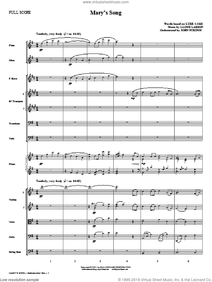 Mary's Song (complete set of parts) sheet music for orchestra/band (Orchestra) by Lloyd Larson, intermediate skill level