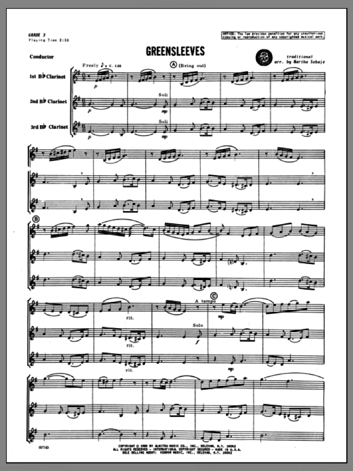Greensleeves (COMPLETE) sheet music for clarinet trio by Sobaje and Miscellaneous, classical score, intermediate skill level