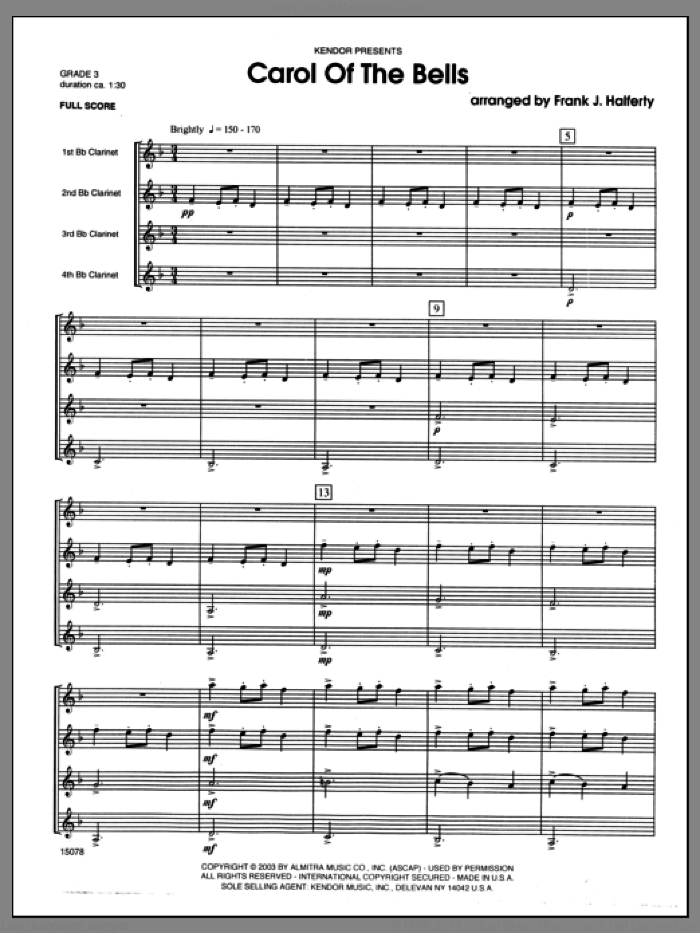 Carol of the Bells (COMPLETE) sheet music for clarinet quartet by Halferty and Miscellaneous, classical score, intermediate clarinet quartet. Score Image Preview.