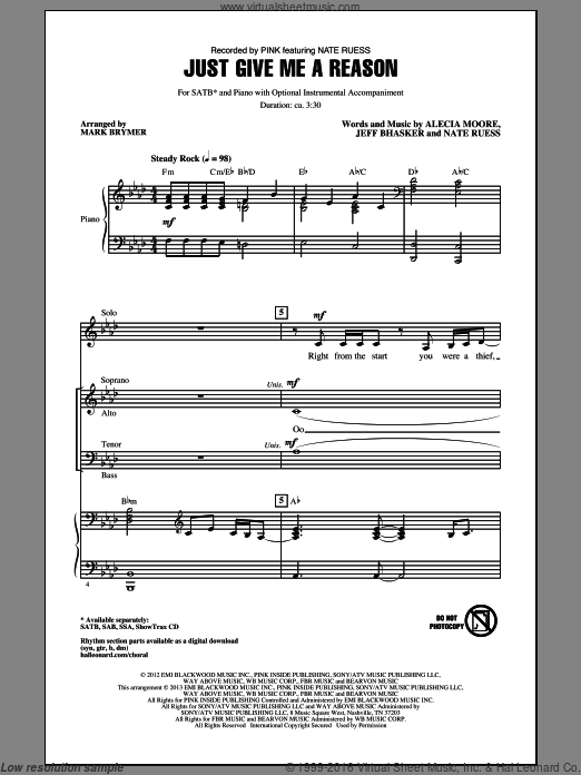 Just Give Me A Reason sheet music for choir and piano (SATB) by Mark Brymer and Miscellaneous. Score Image Preview.