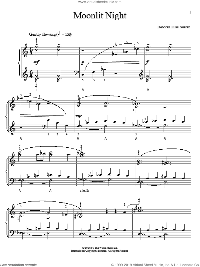 Moonlit Night sheet music for piano solo (elementary) by Deborah Ellis Suarez, beginner piano (elementary)