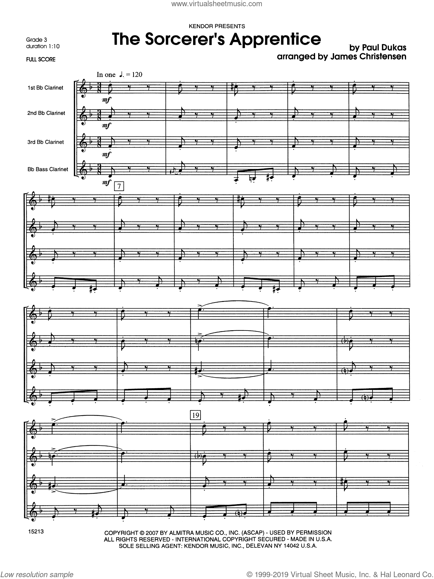 Sorcerer's Apprentice, The sheet music for clarinet quartet (full score) by Dukas