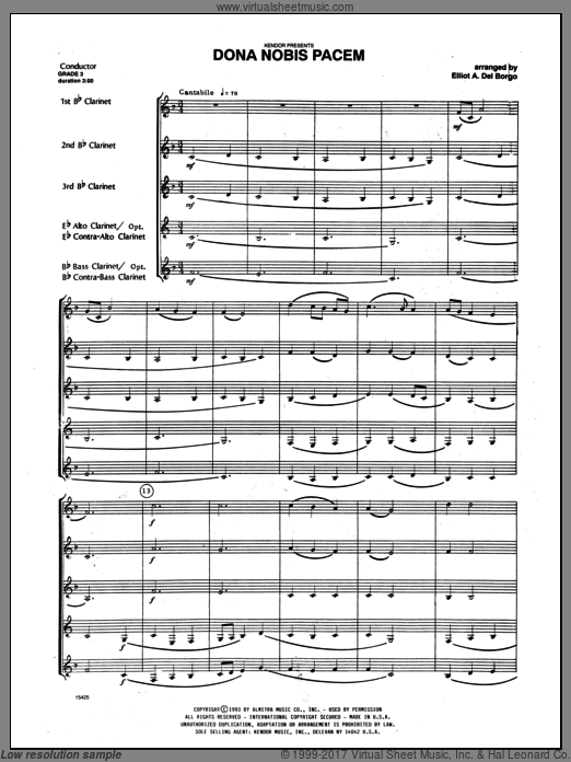 Dona Nobis Pacem (COMPLETE) sheet music for clarinet quintet