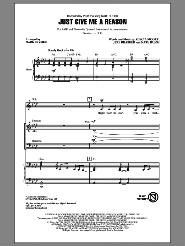 Just Give Me A Reason sheet music for choir (SAB) by Mark Brymer and Miscellaneous. Score Image Preview.
