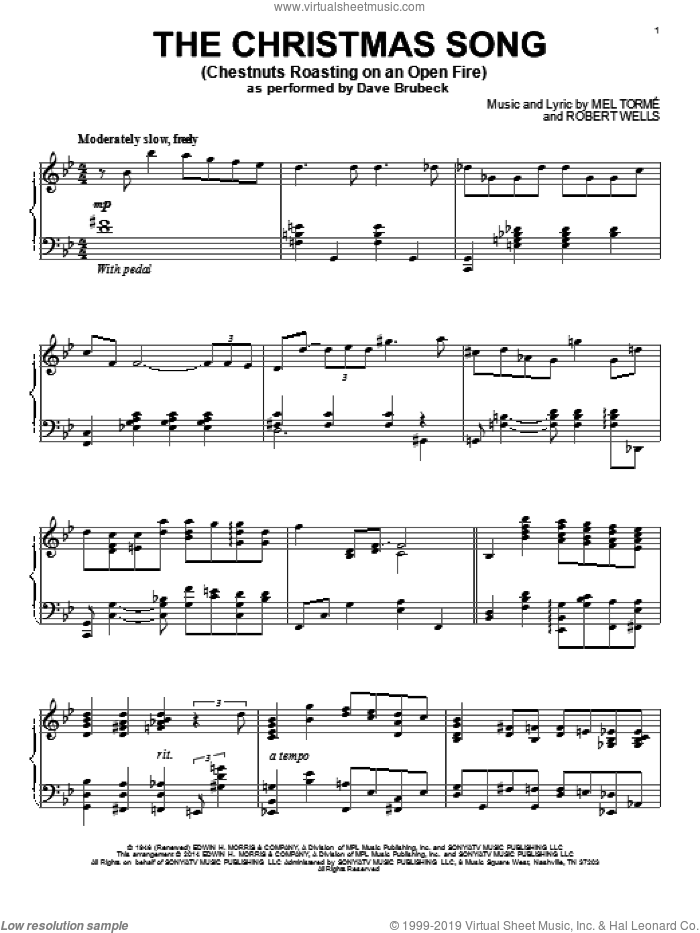 The Christmas Song (Chestnuts Roasting On An Open Fire) sheet music for piano solo by Mel Torme, wedding score, intermediate skill level