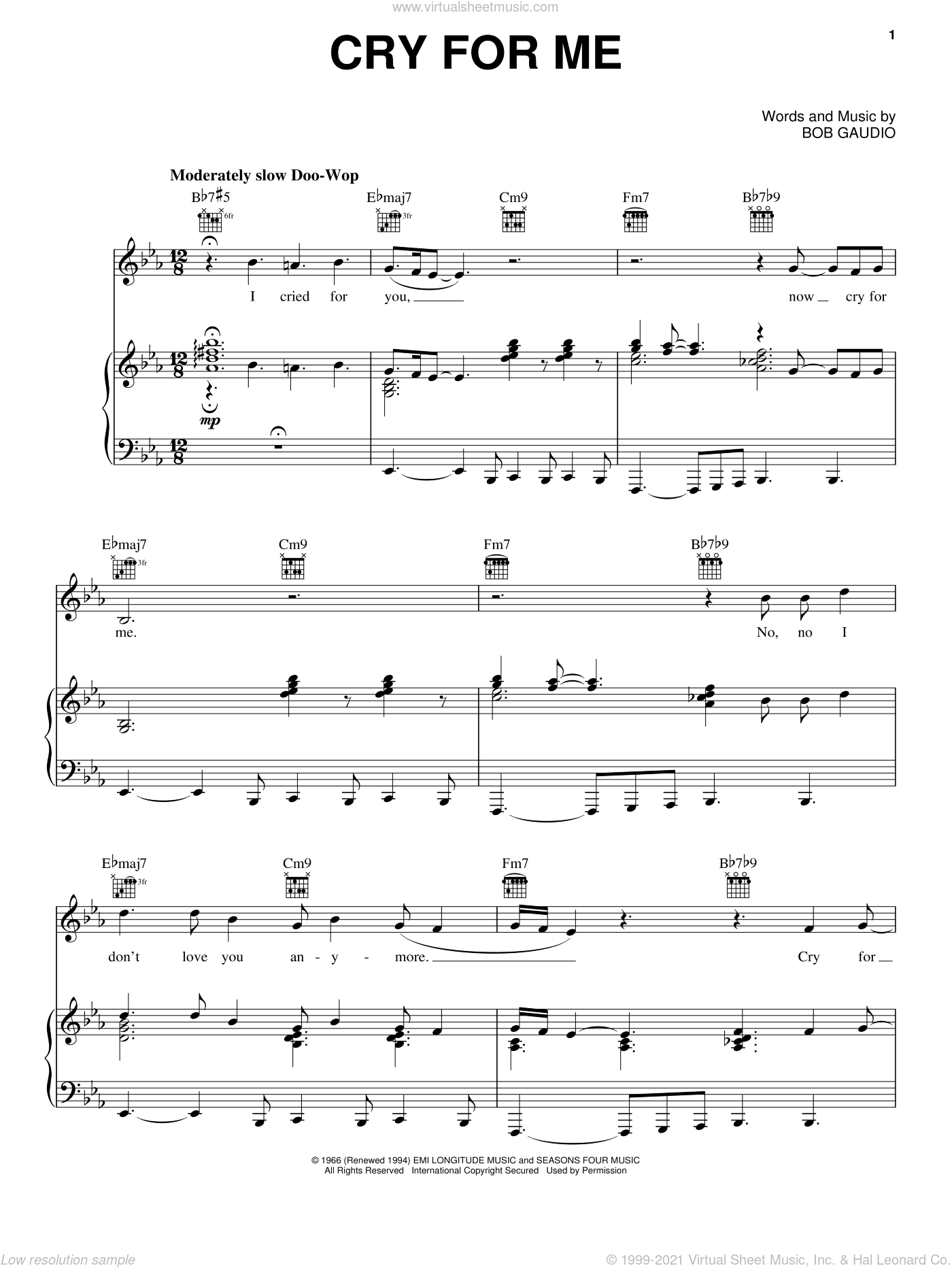 Cry For Me sheet music for voice, piano or guitar by Bob Gaudio