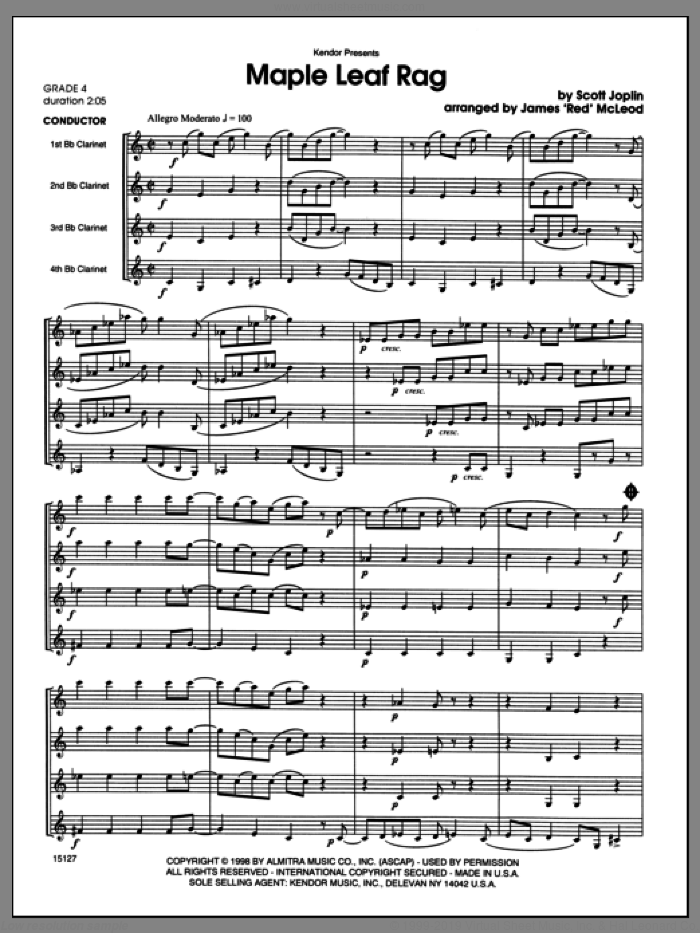 Maple Leaf Rag (COMPLETE) sheet music for clarinet quartet by Scott Joplin and James 'Red' McLeod, classical score, intermediate skill level