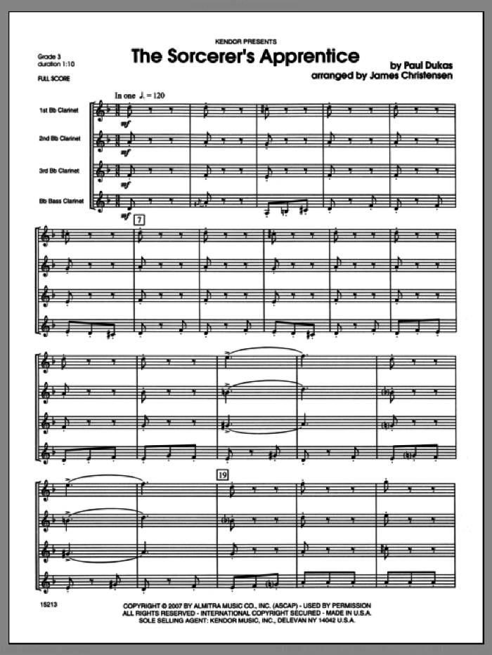 Sorcerer's Apprentice, The (COMPLETE) sheet music for clarinet quartet by Christensen and Dukas, classical score, intermediate skill level