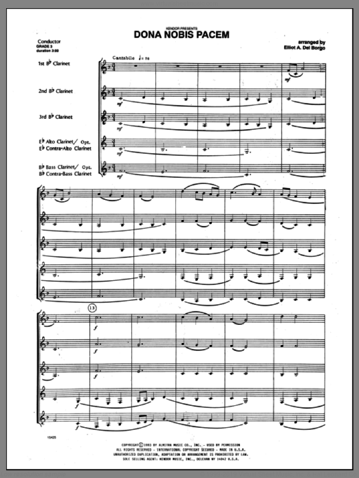 Dona Nobis Pacem (COMPLETE) sheet music for clarinet quintet by Del Borgo and Miscellaneous, classical score, intermediate clarinet quintet. Score Image Preview.