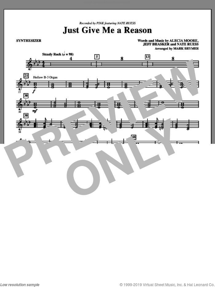 Just Give Me a Reason (complete set of parts) sheet music for orchestra/band by Mark Brymer and Miscellaneous, intermediate orchestra/band. Score Image Preview.