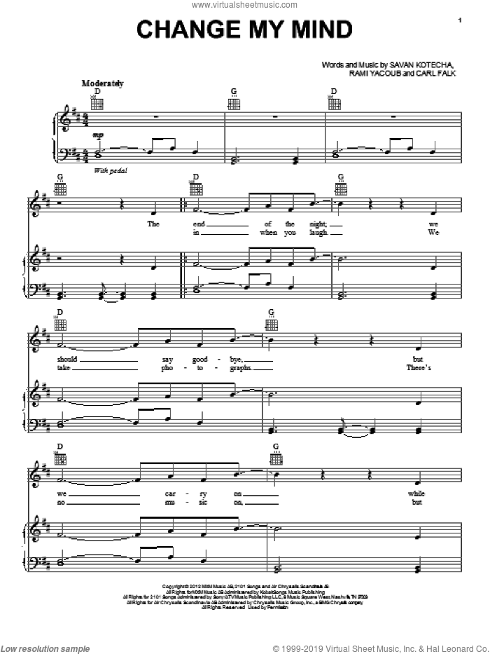 Change My Mind sheet music for voice, piano or guitar by One Direction