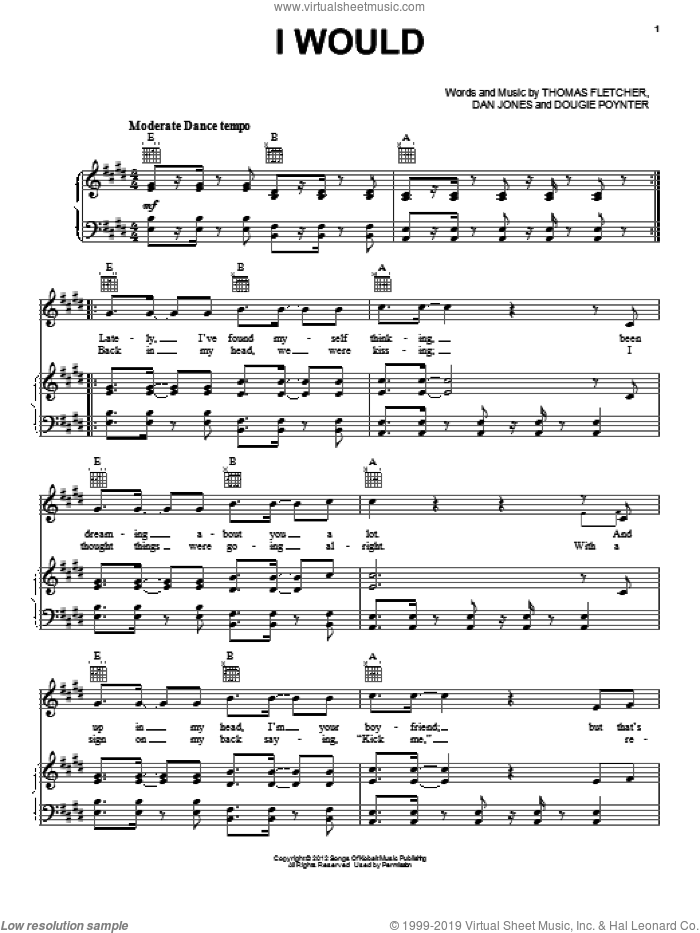 I Would sheet music for voice, piano or guitar by One Direction, intermediate. Score Image Preview.