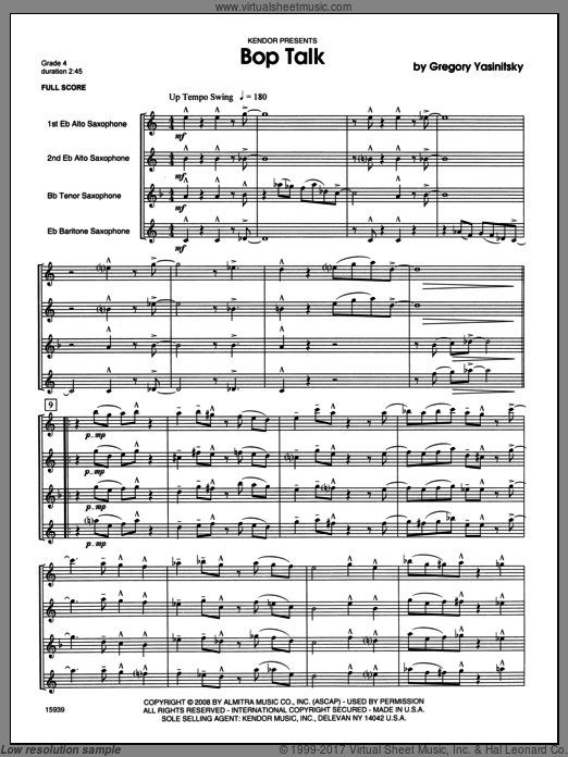Bop Talk (COMPLETE) sheet music for saxophone quartet by Yasinitsky