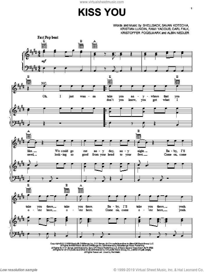 Kiss You sheet music for voice, piano or guitar by One Direction. Score Image Preview.