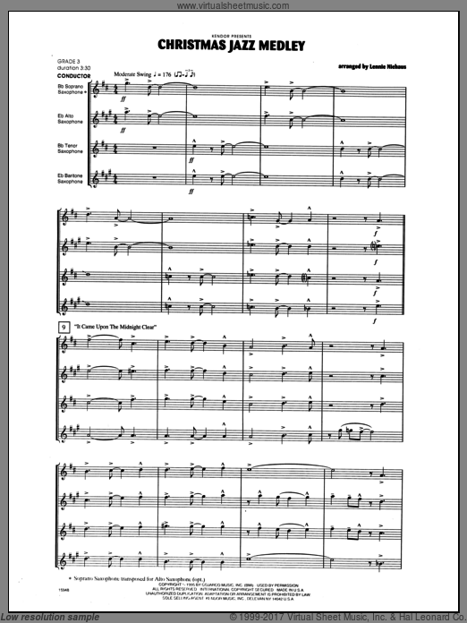 Christmas Jazz Medley (COMPLETE) sheet music for saxophone quintet