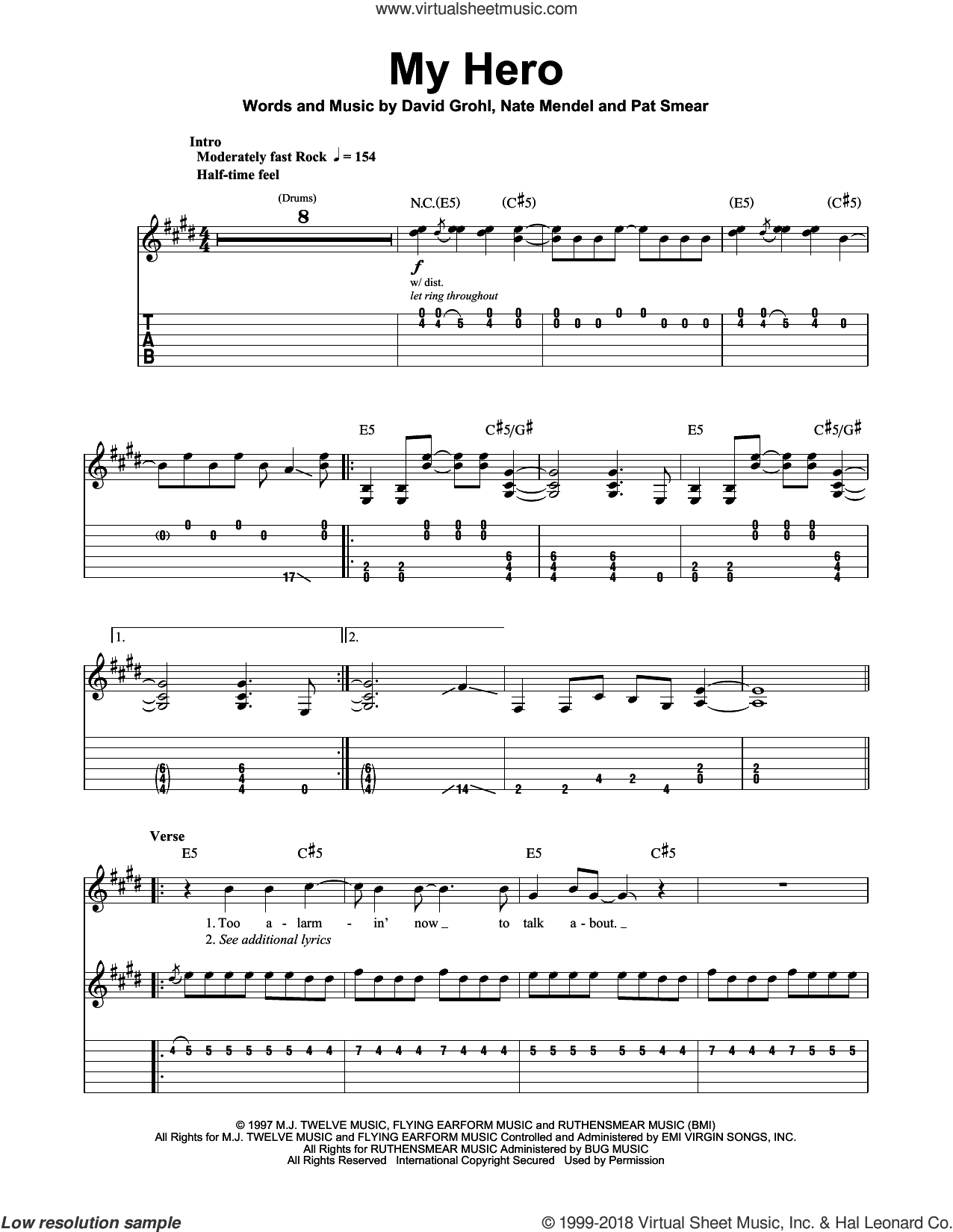 My Hero sheet music for guitar (tablature, play-along) by Pat Smear, Foo Fighters, Dave Grohl and Nate Mendel. Score Image Preview.