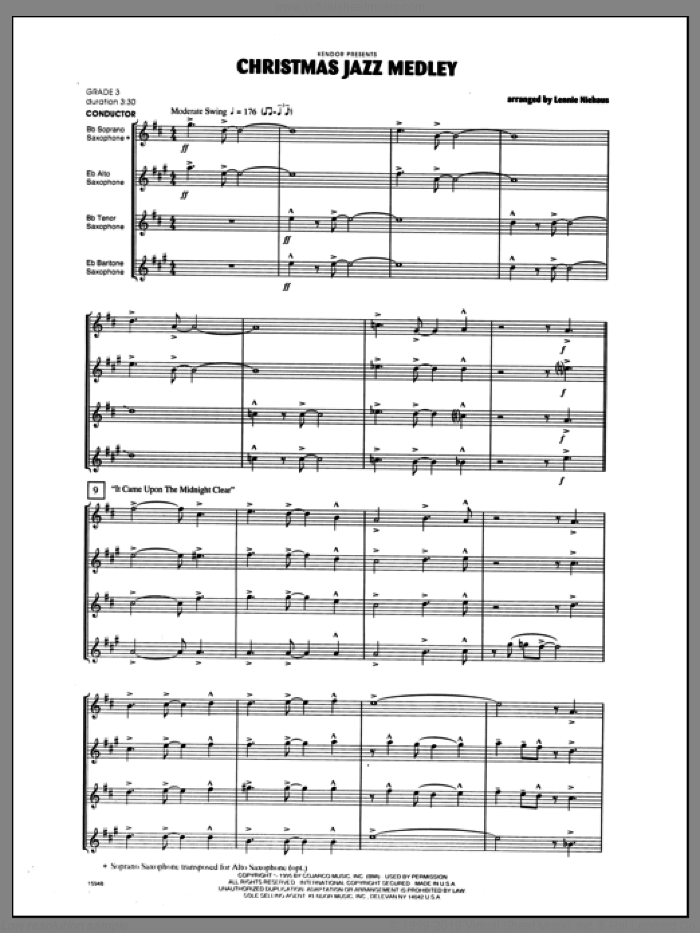 Christmas Jazz Medley (COMPLETE) sheet music for saxophone quartet by Lennie Niehaus and Miscellaneous, classical score, intermediate. Score Image Preview.