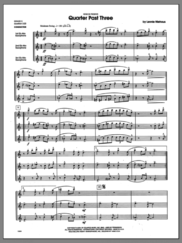 Quarter Past Three (COMPLETE) sheet music for saxophone quartet by Lennie Niehaus, classical score, intermediate saxophone quartet. Score Image Preview.