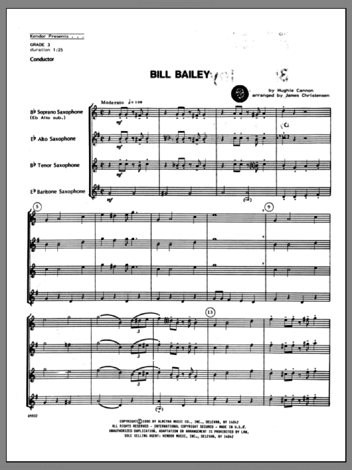 Bill Bailey (COMPLETE) sheet music for saxophone quartet by Hughie Cannon and Christensen, classical score, intermediate skill level