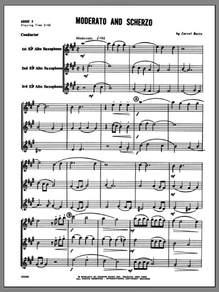 Moderato And Scherzo (COMPLETE) sheet music for saxophone quartet by Butts, classical score, intermediate saxophone quartet. Score Image Preview.