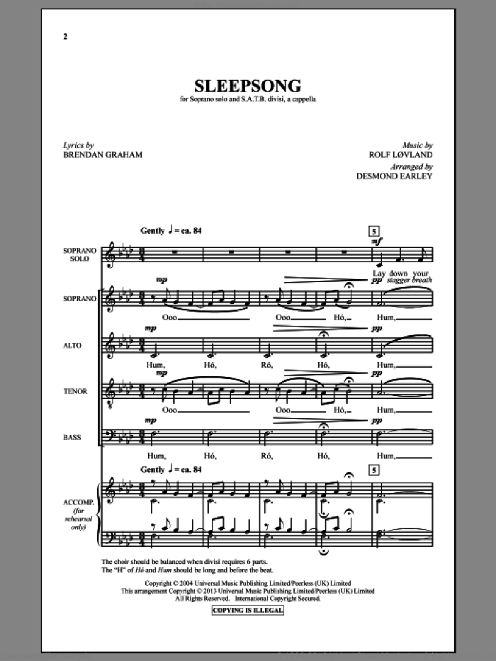 Sleepsong sheet music for choir and piano (SATB) by Rolf Lovland