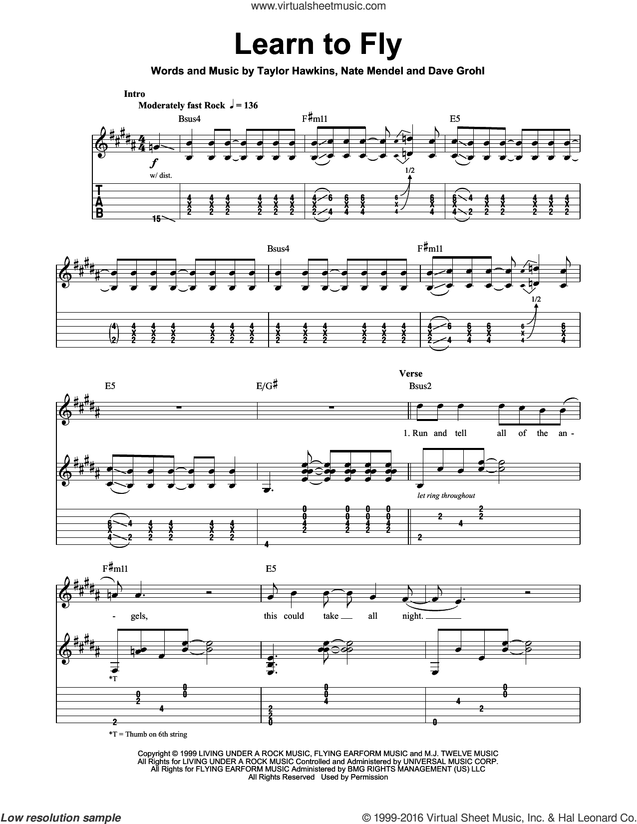 Learn To Fly sheet music for guitar (tablature, play-along) by Foo Fighters, Dave Grohl, Nate Mendel and Taylor Hawkins, intermediate skill level
