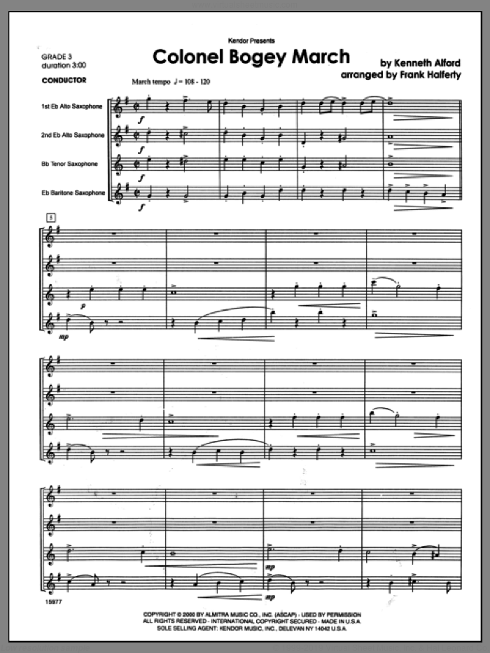 Colonel Bogey March sheet music for saxophone quartet (full score) by Alford