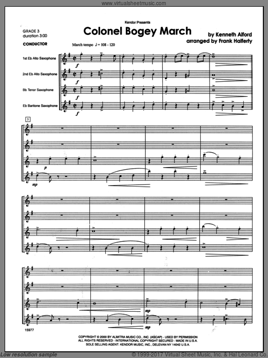 Colonel Bogey March (COMPLETE) sheet music for saxophone quartet by Alford