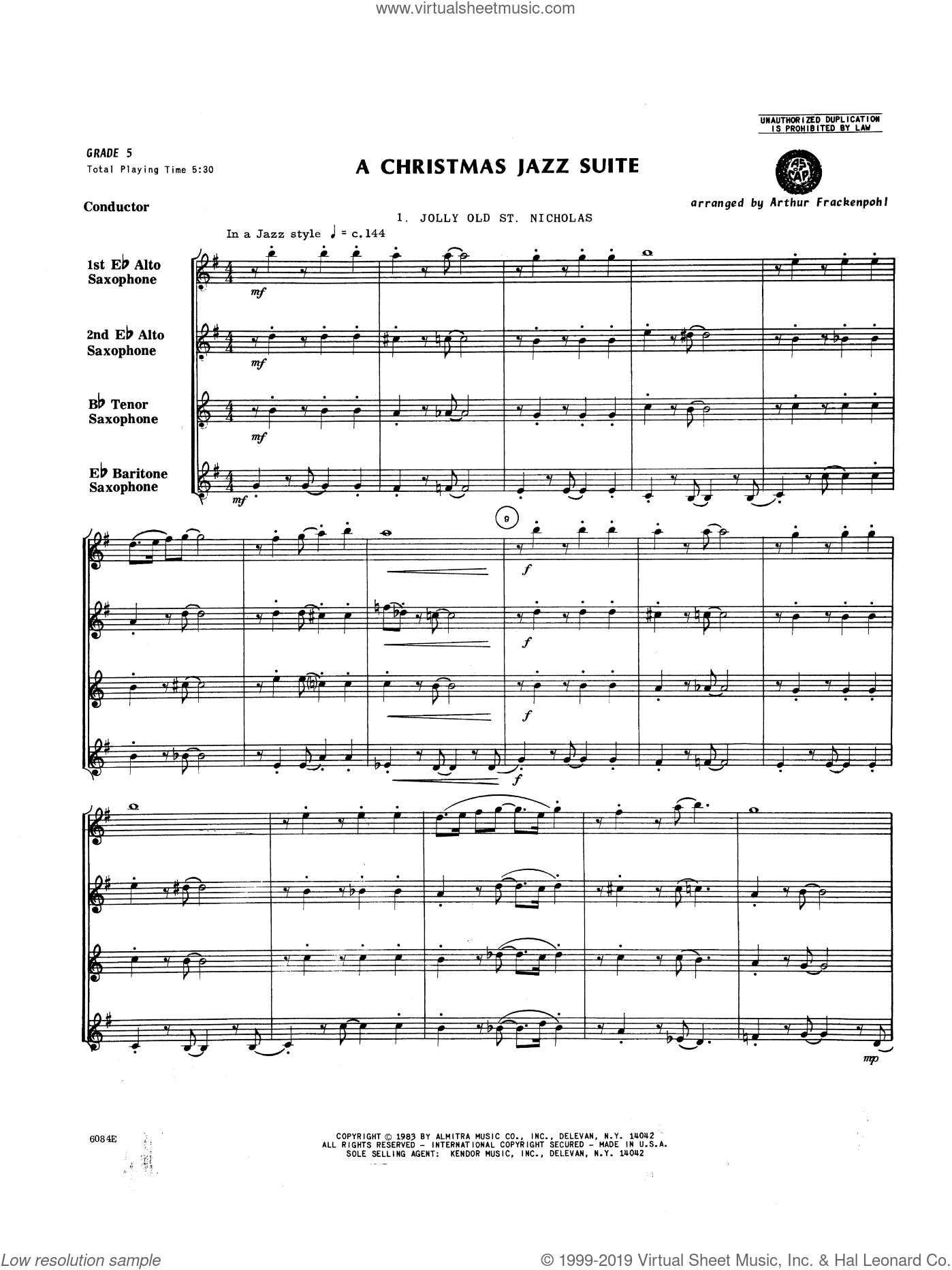 Christmas Jazz Suite, A sheet music for saxophone quartet (full score)