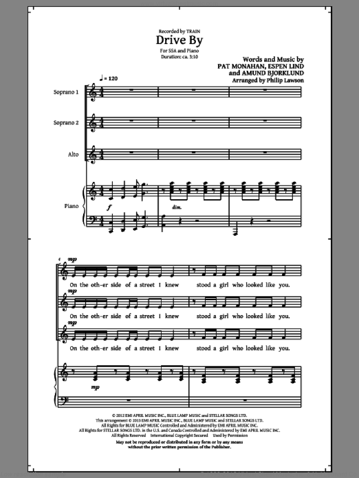 Drive By sheet music for choir and piano (SSA) by Train and Philip Lawson. Score Image Preview.