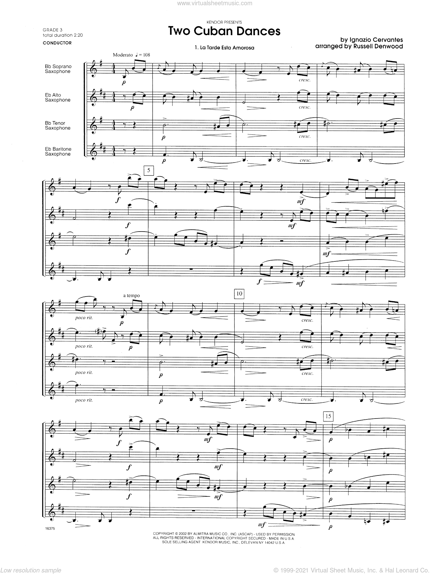 Two Cuban Dances sheet music for saxophone quartet (full score) by Cervantes