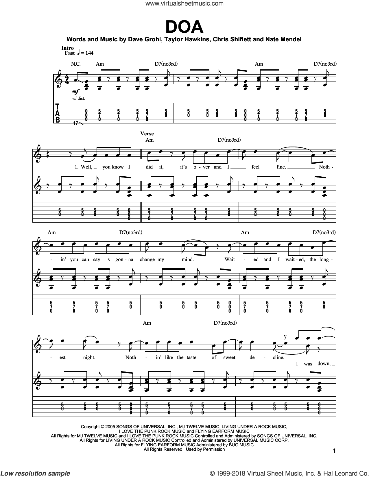 DOA sheet music for guitar (tablature, play-along) by Taylor Hawkins, Foo Fighters, Chris Shiflett, Dave Grohl and Nate Mendel. Score Image Preview.
