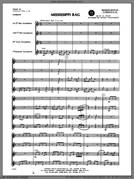 Mississippi Rag (COMPLETE) sheet music for saxophone quartet by Krell