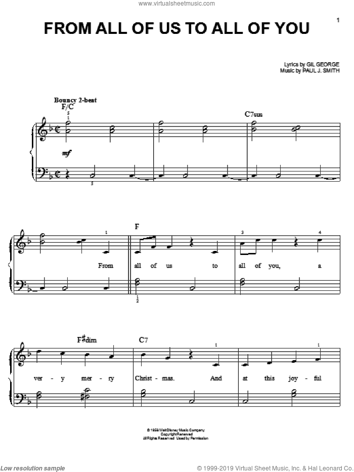 From All Of Us To All Of You sheet music for piano solo by Gil George and Paul J. Smith, easy skill level