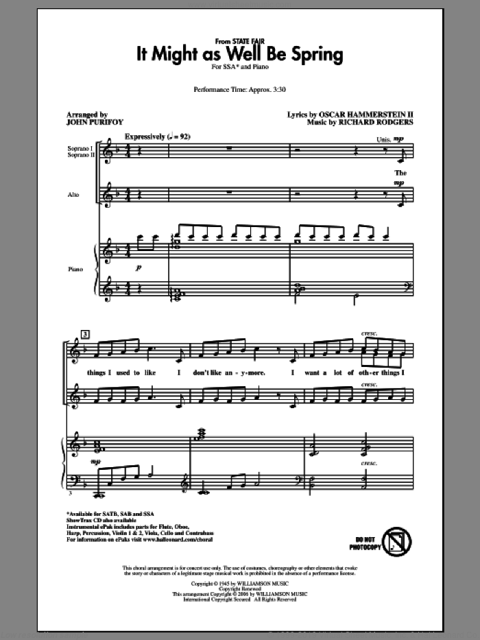 It Might As Well Be Spring sheet music for choir (soprano voice, alto voice, choir) by John Purifoy, Oscar II Hammerstein and Richard Rodgers. Score Image Preview.