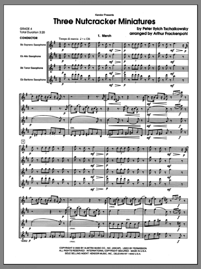 Three Nutcracker Miniatures (COMPLETE) sheet music for saxophone quartet by Arthur Frackenpohl and Pyotr Ilyich Tchaikovsky, classical score, intermediate. Score Image Preview.