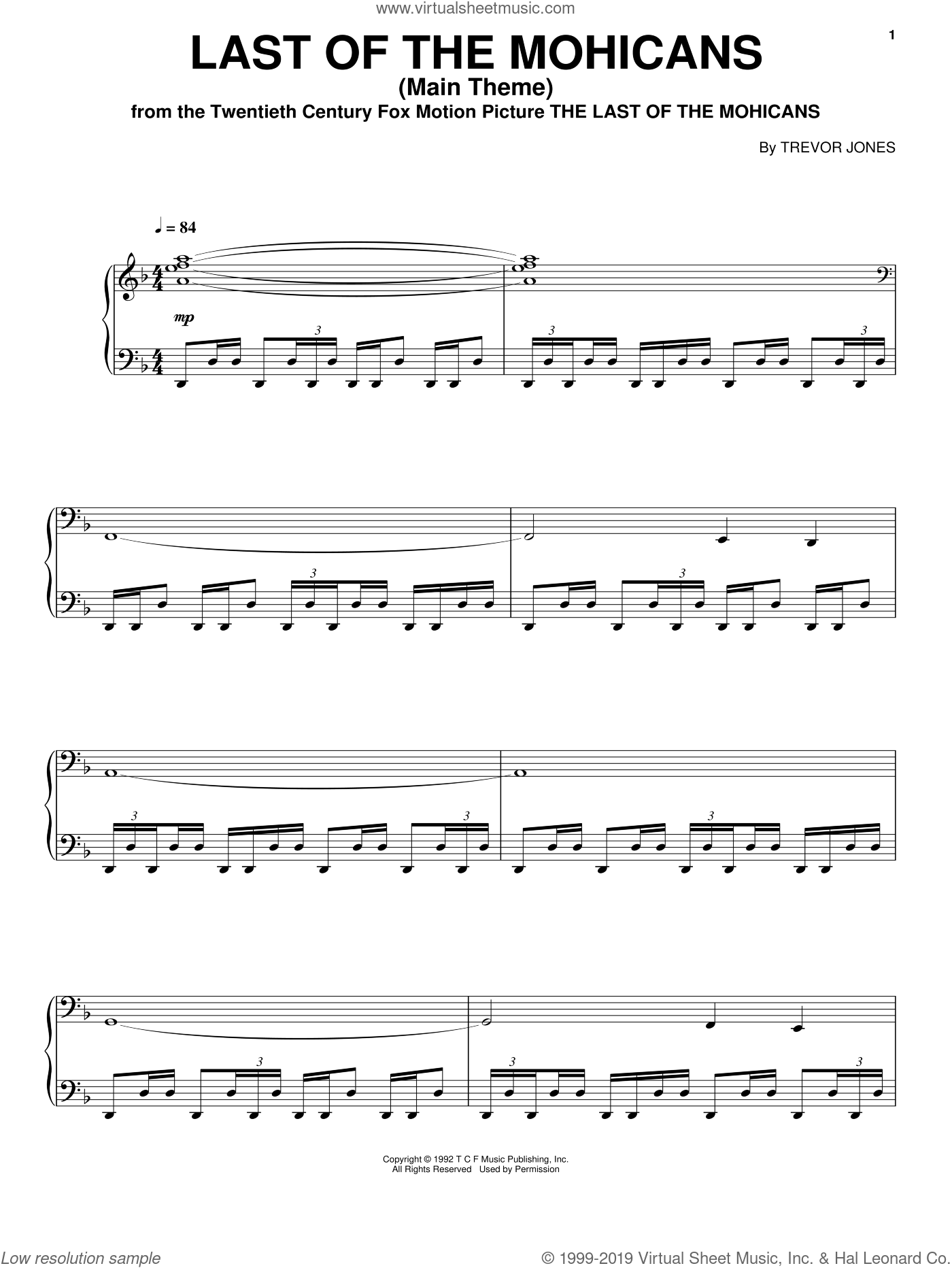 Jones - Last Of The Mohicans (Main Theme) sheet music for voice, piano or  guitar