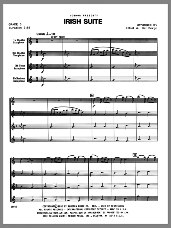 Irish Suite (COMPLETE) sheet music for saxophone quartet by Elliot Del Borgo and Miscellaneous, classical score, intermediate skill level
