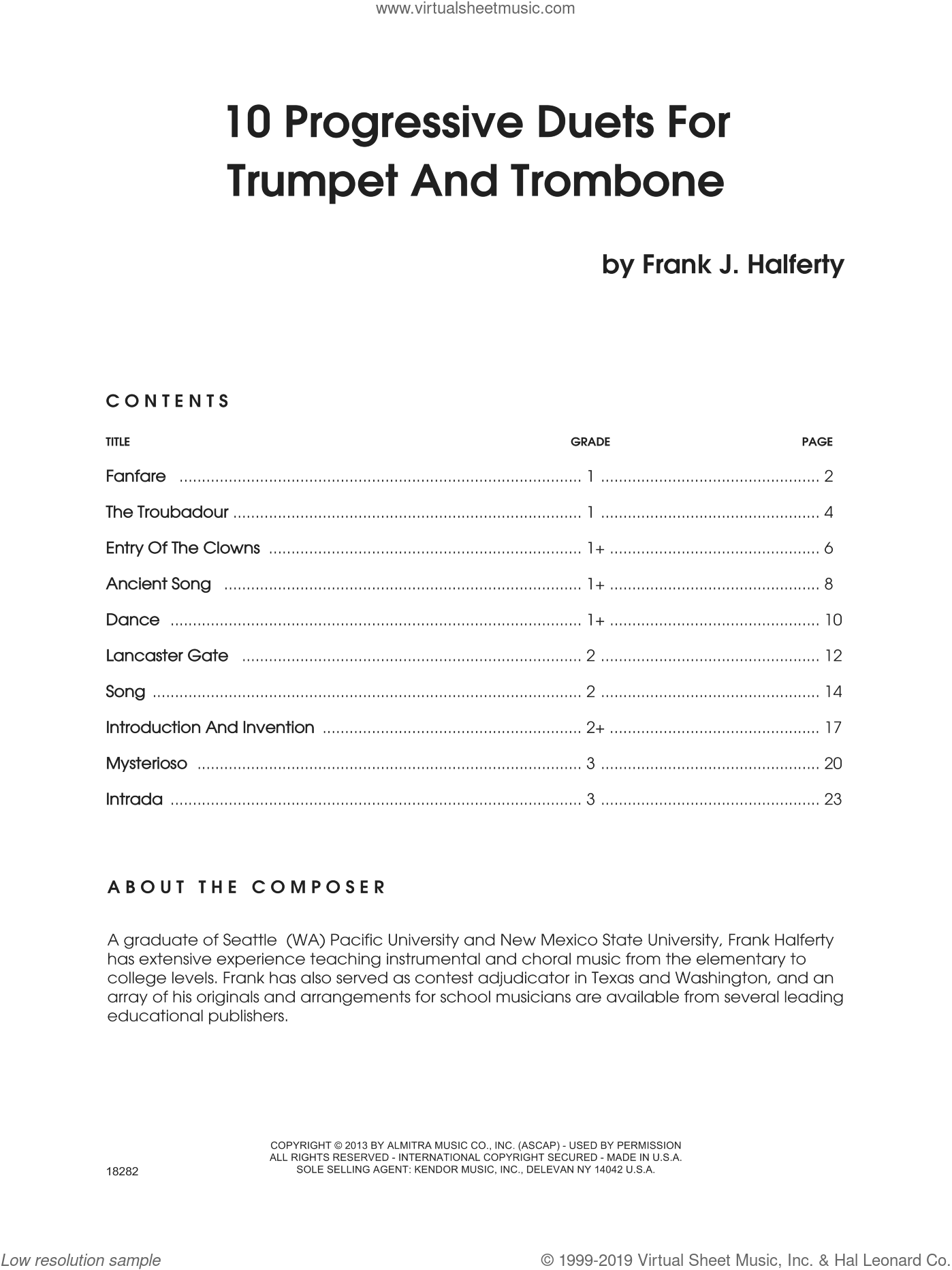 10 Progressive Duets For Trumpet And Trombone sheet music for trumpet and trombone by Halferty. Score Image Preview.