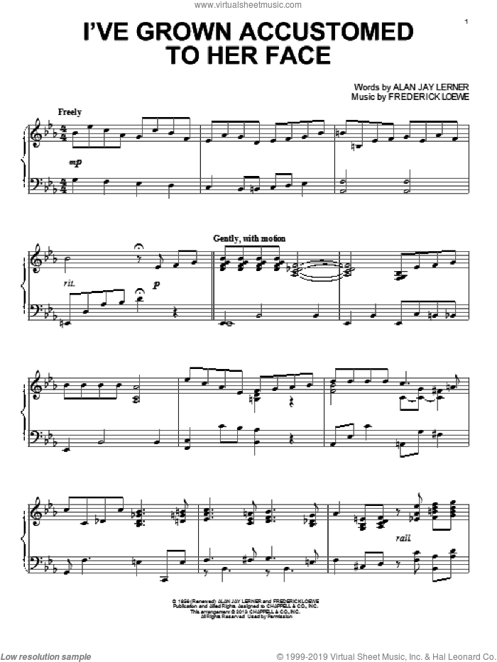 I've Grown Accustomed To Her Face sheet music for piano solo by Alan Jay Lerner